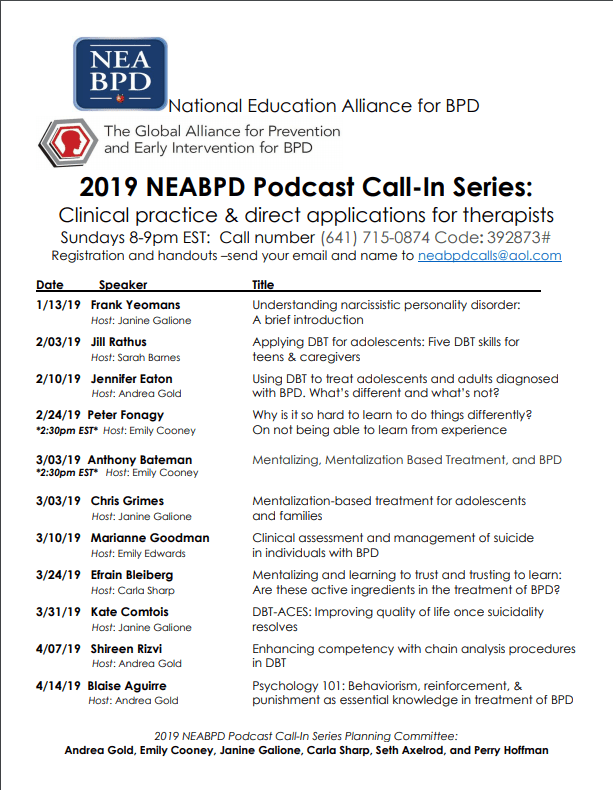 2019 NEABPD Podcast Call-in Series Schedule | National Education